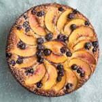 Peach and Blueberry Breakfast Cake with Greek Yogurt
