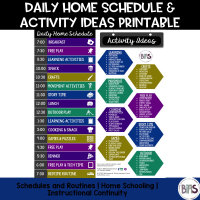 Daily Home Schedule & Activity Idea Free Printable