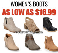 $16 Woman Boots, textSAVE07 to  56457