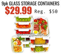 9pk Glass Containers, Clip $10 coupon and code VHD7BEIE