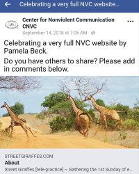 Center for Nonviolent Communication (CNVC) re: my blog