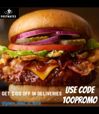 $100 off in deliveries on Postmates